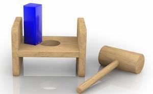 hammer square peg